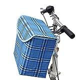 metal basket for bike - M SANMERSEN Fold-up Metal Canvas Bike Basket,Sanmersen Folding Portable Canvas Front Handlebar Bicycle Basket with Detachable Hook Removable bag (Blue)