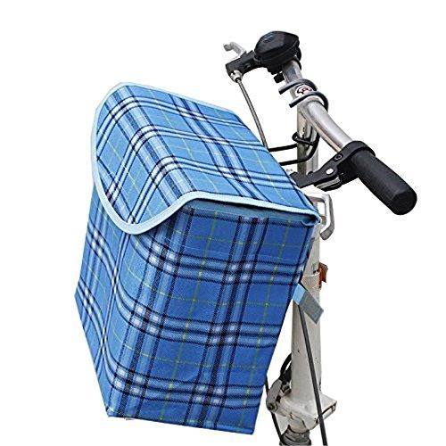 Fold-up Metal Canvas Bike Basket,Sanmersen Folding Portable Canvas Front Handlebar Bicycle Basket with Detachable Hook Removable bag (Blue)