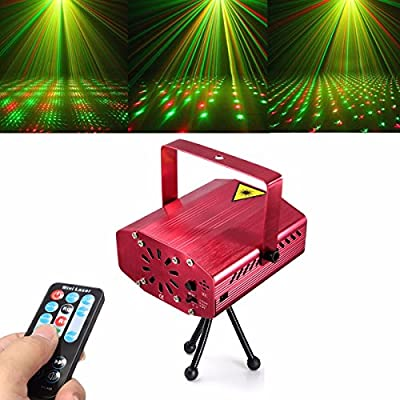 Jeteven Stage Laser Lights, Red and Green Star LED Projector Spotlight with Wireless Remote Control and Tripod Sound Music Active for Disco DJ Party Halloween Christmas Holiday