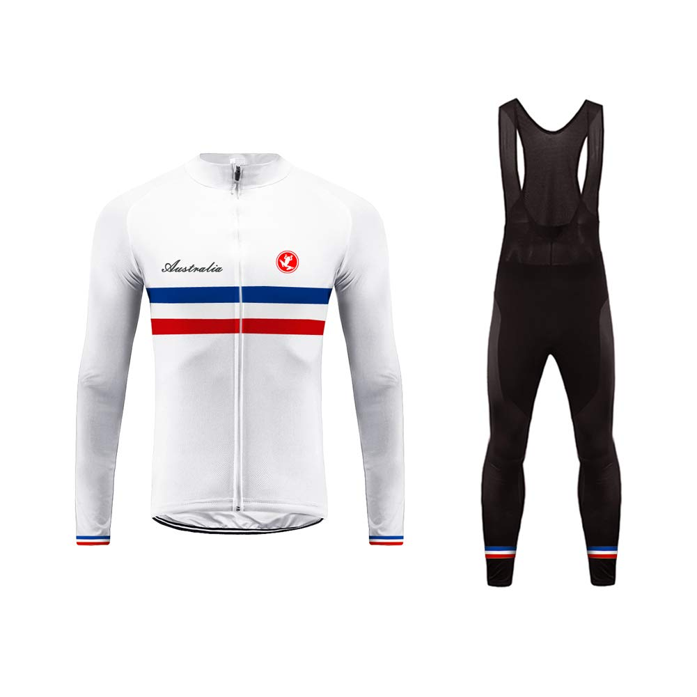 Uglyfrog Wear Long Bicycle Suits Mens Thermodream Cycling Jersey Full Sleeve Thermal Roubaix Cycling Jacket Long Bib Pant with Gel Pad National Flag Stripe Designs Winter Style by Uglyfrog