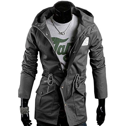 Men's Winter Coat Slim Fit Thick Military Rider Jacket Coat Grey-J03