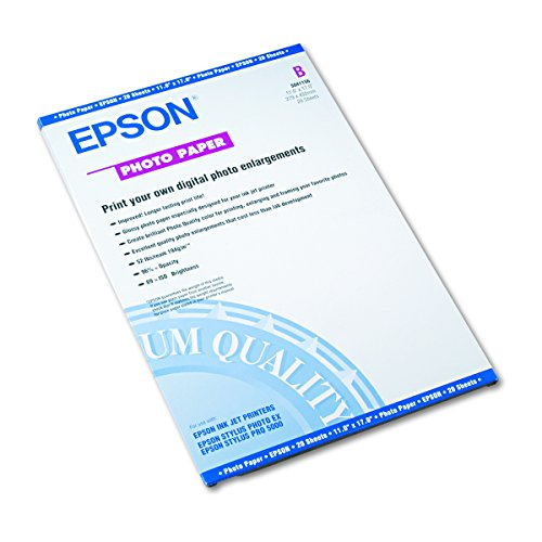 Epson S041156 Glossy Photo Paper, 60 lbs., Glossy, 11 x 17 (Pack of 20 Sheets)