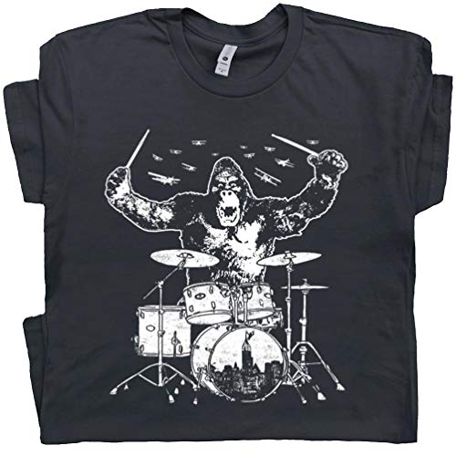 Youth S - Kong Playing Drums Shirts Drum Set Donkey Tee Drummers Animal Drumming Gift Marching Rock Band Men Women Kid Black