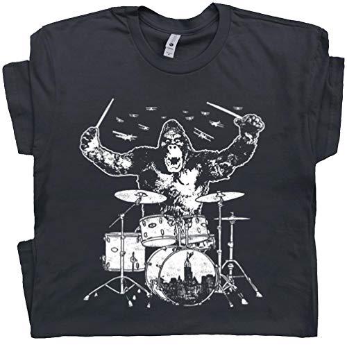 XXXL - Kong Playing Drums Shirts Drum Set Donkey Tee Drummers Animal Drumming Gift Marching Rock Band Men Women Kid Black - Independent T-shirts Animal