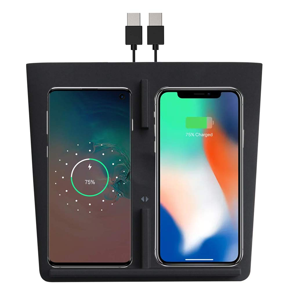 Tesla Model 3 Wireless Charger Dual Charging Dock with Two USB Splitter V2.0 Black