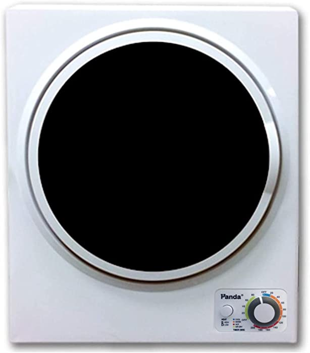 Panda 1.50 cu.ft Compact Laundry Dryer, White and Black