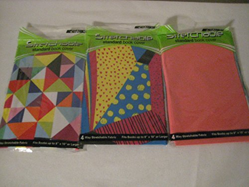 Assorted Prints 8inch X 10inch Stretchable Fabric Book Covers (3 pack) (Book Covers Stretch)