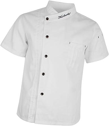 Hellery Chaqueta de Chef de Manga Corta Botón Doble Bolsillo de Pecho Uniforme de Camarero Panadero Trabajador de Restaurante de Verano: Amazon.es: Ropa y accesorios