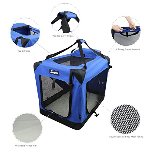 JESPET Soft Dog Crates Kennel for Pets, 3 Door 26' Soft Sided Folding Travel Pet Carrier with Straps...