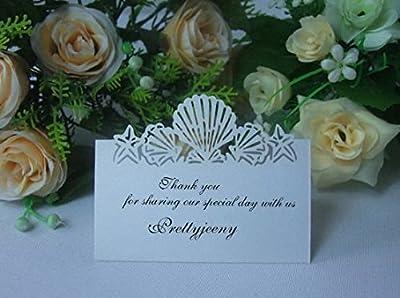 CYNDIE Hot Sale New Beach Wedding Laser Cut Shells Table Invitation Name Card Favor Decoration
