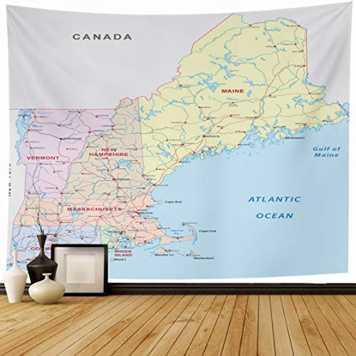 Ahawoso Tapestry Wall Hanging 60x50 America State New England Road Map Hampshire Massachusetts Boston Canada Vermont Connecticut Design Home Decor Tapestries Decorative Bedroom Living Room Dorm ()