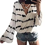 Women Stripe T-Shirts, Tianya Girls Loose Long Sleeve V Neck Overlapping Chiffon Casual Shirt Blouse Tops Clothes (White, S(Bust:92cm, Sleeve:61cm, Length:62cm))