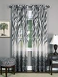 Achim Home Furnishings KNPN84BK12 Kenya Window Curtain Panel, 50 x 84, Black/White