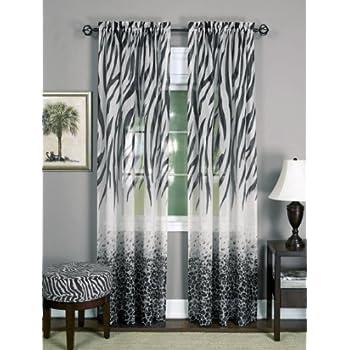 Amazon Com Zebra Print Window Panel Curtains Set Of 2