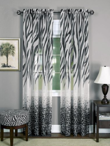 (Achim Home Furnishings Kenya Window Curtain Panel, Black/White, 50 x 84-Inch)
