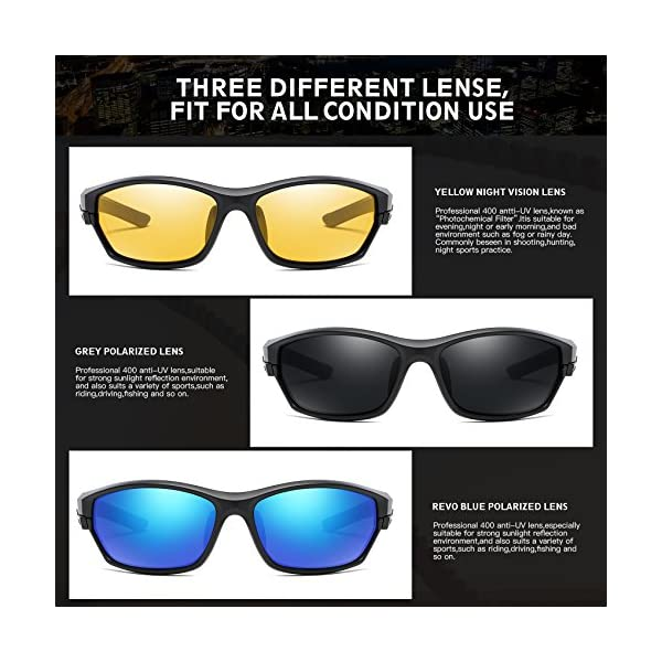 78b17352f5 DUCO Polarized Sports Mens Sunglasses for Ski Driving Golf Running Cycling  TR90 Super Light Frame with 3 Sets of Interchangeable Lenses 6216 –  Trustedtackle