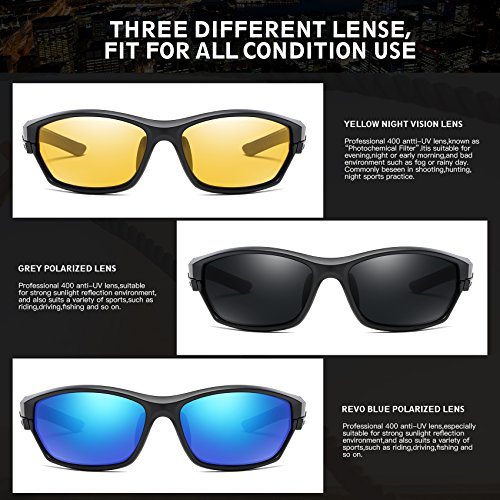 5e88ee7e9a DUCO Polarized Sports Mens Sunglasses for Ski Driving Golf Running Cycling  TR90 Super Light Frame with 3 Sets of Interchangeable Lenses 6216 Black  Frame ...