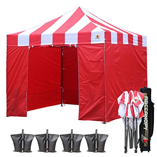 ABCCANOPY Tents Canopy Tent 10 x 10 Pop Up Canopies Commercial Tents Market stall with 6 Removable Sidewalls and Roller Bag Bonus 4 Weight Bags and 10ft Screen Netting and Half Wall
