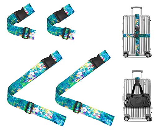Claude Monet Water Lilies VI Travel Luggage Strap Suitcase Security Belt. Heavy Duty & Adjustable. Must Have Travel Accessories. TSA Compliant. 2 Luggage Straps & 2 Add A Bag Straps. 4-Piece Set.
