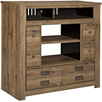 Ashley Cinrey Media Chest w/Fireplace Option in Medium Brown