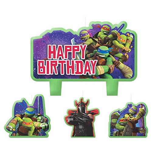 Party Time Teenage Mutant Ninja Turtles Molded Mini Character Birthday Candle Set, Pack of 4, Green , 2.25 x 3.25 Wax (Value 3-Pack) by Amscan