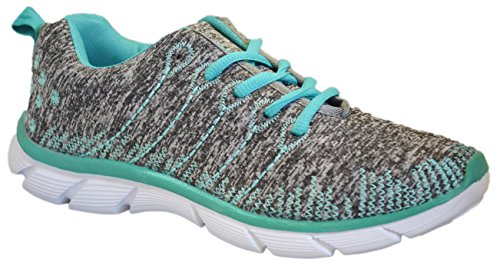 Womens Sneakers Athletic Knit Mesh Running Light Weight Go Easy Walking Casual Comfort Running Shoes 2.0 (8, Mint/Grey with Memory Foam Insole)