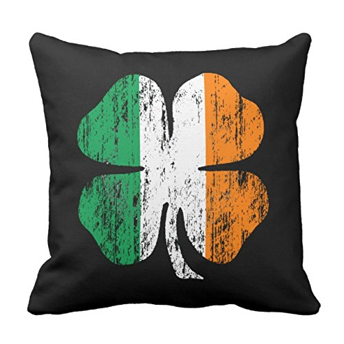 UOOPOO Distressed Irish Flag Shamrock Cotton Canvas Pillow Case 20 x 20 Inches Square Happy New Year Cushion Cover for Sofa Print One Side