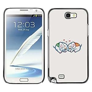 X-ray Impreso colorido protector duro espalda Funda piel de Shell para SAMSUNG Galaxy Note 2 II / N7100 - Love Couple Relationship Grey