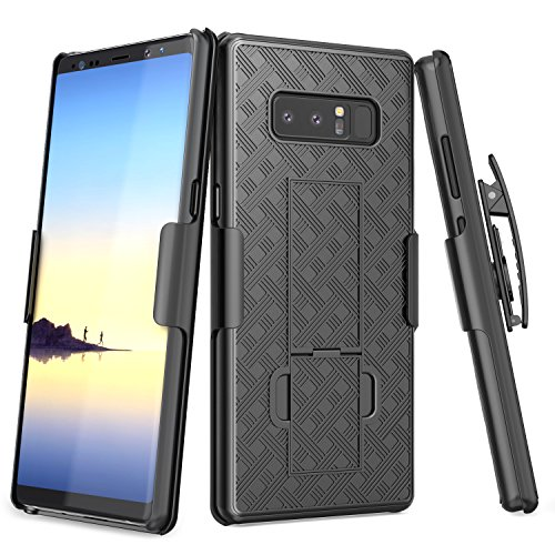 Galaxy Note 8 Case, TILL [Thin Design] Holster Locking Belt Swivel Clip Non-Slip Texture Hard Shell [Built-in Kickstand] Combo Case Defender Cover for Samsung Galaxy Note 8 All Carriers [Black]