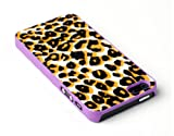 retro 5s grape - Purple Leopard Print Textured Skin Slim Fit Hard Case for Apple iPhone 5S / 5 - Includes DandyCase Screen Cleaner [Retail Packaging by DandyCase]