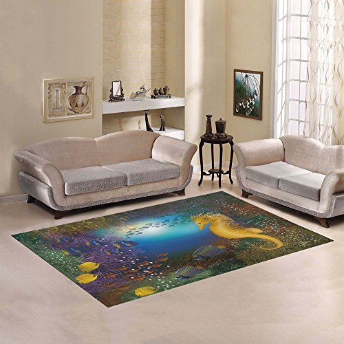 Artsadd Seahorse And Fish Area Rug Carpet 7'x5′ Floor Rug for Living Room Bedroom For Sale
