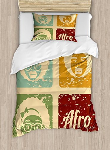 Lunarable Afro Duvet Cover Set Twin Size, Pop Art Style Disco Themed Arrangement Retro Dance Fever African American Culture, Decorative 2 Piece Bedding Set with 1 Pillow Sham, Multicolor by Lunarable