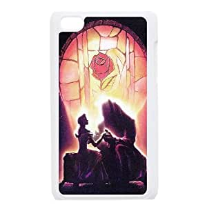 iPod Touch 4 Case White ac45 beauty and the beast disney art illust Qiljf
