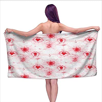 Beach Towel Towels? Batik Pattern Grungy Distr SED Featur Hippie Stylized Theme Red,Sports, Travels, Quick Drying and Super Absorbent Technology