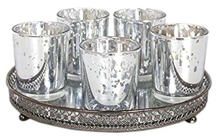 Super Set Of 5 Silver Mercury Glass Votive Candle Tealight Holders With  VH13