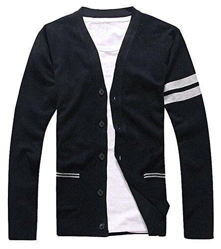 [Gathoo Mens Fashion Stripe Slim Fit Button Down V-Neck Cardigan BlackUS-XS] (Morph Suite)