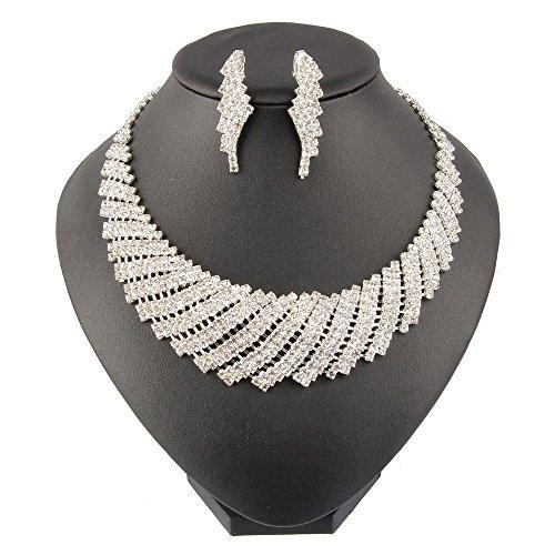 Ons Rhinestones (Beauty7 Vintage Sparkling Bridal Women Wedding Gift Bib Necklace Clip-ons Earrings Jewelry Set Rhinestone)