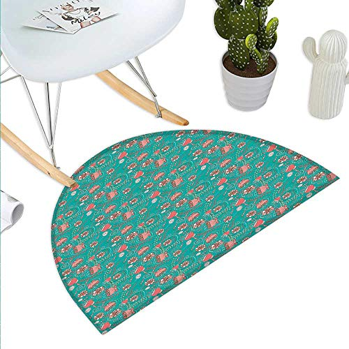 Turquoise Semicircle Doormat Abstract Floral Arrangement Hand Drawn Foliage with Circular Elements Romantic Halfmoon doormats H 19.7