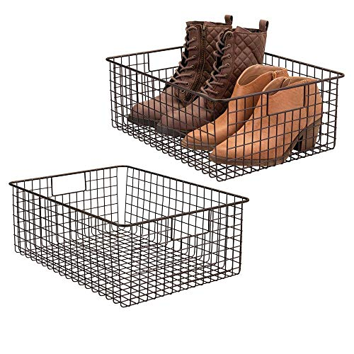 """mDesign Large Farmhouse Metal Wire Storage Basket Bin Box with Handles for Organizing Closets, Shelves and Cabinets in Bedrooms, Bathrooms, Entryways and Hallways - 16"""" x 12"""" x 6"""" - 2 Pack - Bronze"""