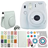 Fujifilm instax Mini 9 Instant Film Camera (Smokey White) + 20 Sticker Frames for Fuji Instax Prints Animal Package + Scrapbook Album + Case with Closure + Striped Neck Strap + Colored Filters + More