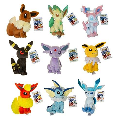 Official Pokemon Evolution of Eevee Plush Toy Set of 9 Eeveelution