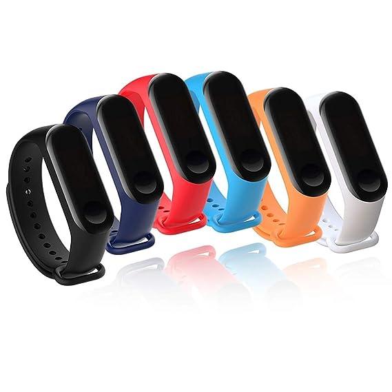 6 Pack Xiaomi Mi Band 3 Bracelet-Budesi Silicone Xiaomi 3 Smartwatch Replacement Wristbands Bands Strap
