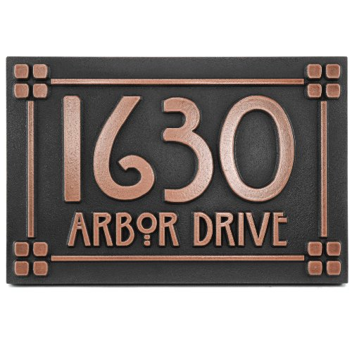 Atlas Signs and Plaques Willow Craftsman Address Plaque with Lines 12x8 - Made in USA - Raised Copper Metal Coated ()