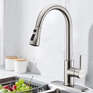 INOVIX Brushed Ha Sprayer, High Arc Nickel Pull Single Handle Kitchen Sink Faucet