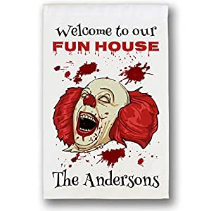 Personalized Halloween Flag, Welcome to our Fun House with Scary Clown, with 1 Line of Custom Text (White Flag)