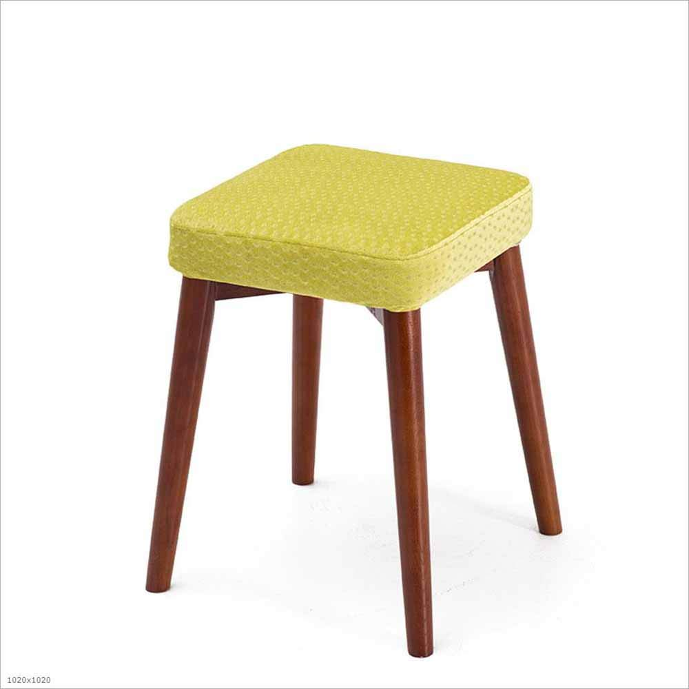 12 SZ JIAOJIAO Solid Wood Stool Fabric Removable And Washable Square Stool Home Upholstery Dressing Stool Stool 33×33×46Cm, 18
