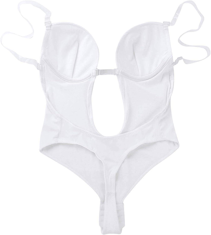 IEFIEL Femme Body Thong Col V Profond Combinaison Dos Nu Bra Invisible Soutien-Gorge Push up sans Couture Maillot de Plage Bikini Une Pi/èce Shapewear Haute Taille 32-40