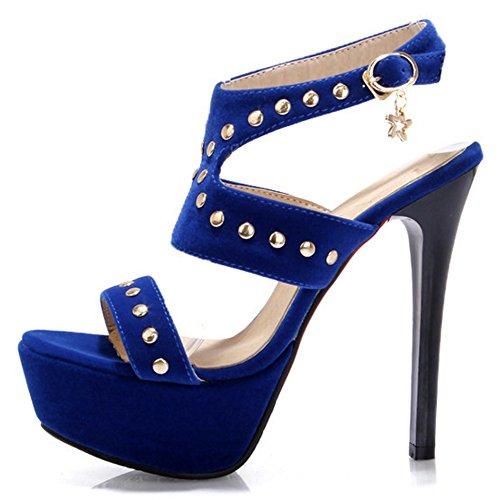 Women 7 Heel Sandals TAOFFEN High Blue Fashion SxfnqYaA