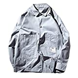 Pandapang Mens Casual Lightweight Button Up Pockets Outdoor Jacket Coats Blue X-Large