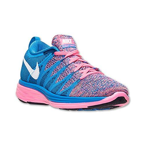 Zapatillas De Running Nike Flyknit Lunar 2 Para Mujer Pink Flash / Blanco / Photo Blue / Brave Blue